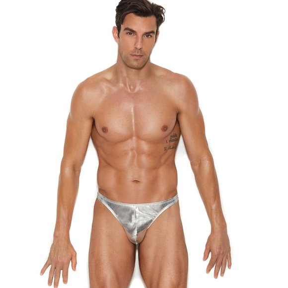 Other - mens silver lame thong